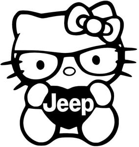 Jeep Hello Kitty Jdm Accord Decal Car Truck Vinyl Sticker 12 Colors