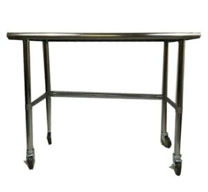 Stainless Steel Work Prep Table W Adjustable Crossbar Wheels Casters 14x48