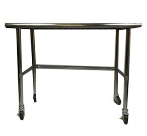 Stainless Steel Work Prep Table W Adjustable Crossbar Wheels Casters 18x72