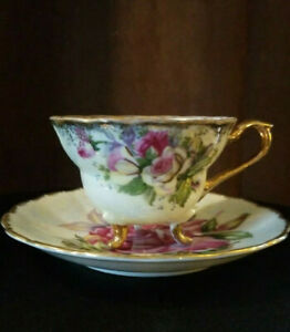 Vintage Napco Hand Painted Porcelain Tea Cup 3 Footed June Victoria Rose