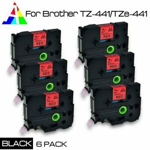 6 Pk Tz 441 Black On Red Label Tape Tze 441 For Brother P touch Pt 1830 18mm 8m