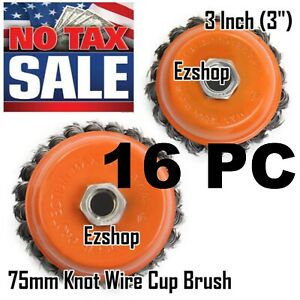 Ezshop 16 Wire Cup Brush 3 75mm For 4 1 2 115mm Angle Grinder Twist Knot