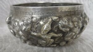 Antique Thai Oriental Asian Indian Repousse Silver Bowl