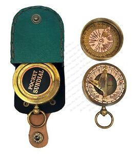 Brass Nautical Pocket Sundial Compass Unique With Intricate Design