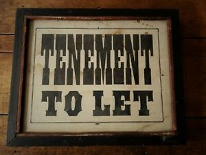 Early Original Antique Primitive Country Tenement To Let Framed Advertising Sign