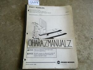 Prime Mover Forklift Pmx 2 Electric Low Lift Pallet Truck Parts Manual