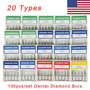 100 Boxes Dental Diamond Burs Medium 1 6mm For High Speed Handpiece Multi use L