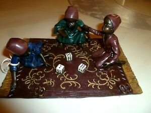 Antq Austria Vienna Bronze Cold Painted Group Of Arabian Children Playing Dice