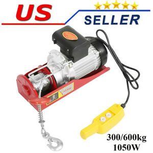 Remote Control Electric Hoist Winch Crane 600kg Rope Cable Chain Lifting Tool Us