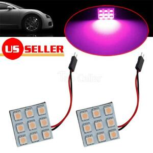2x Pink Purple Led Panel Light Bulb Car Trunk Interior Map Dome Utility For Ford