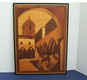 Vtg Wood Inlay Marquetry Spanish Courtyard W Church Wood Sculpture 15 X 11 25