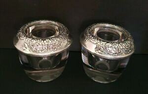 Pair Of Frank M Whiting Glass And Sterling Silver Repose Candle Holders