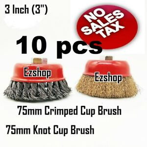10 Wire Cup Brush Wheel 3 75mm For 4 1 2 115mm Angle Grinder Twist Crimped