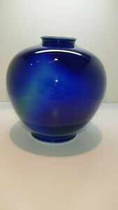 Beautiful Blue Vase Made In Japan Fukagawa Arita Porcelain Used Goods