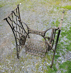 Singer W Logo Crossbar Sewing Machine Treadle Ots 1 Table Legs Cast Iron