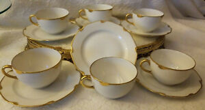 Antique Teacup And Saucer Set Made In Bavaria White And Gold Porcelain