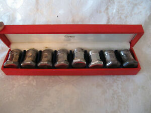 Vintage Cartier 8pc Sterling Silver Salt And Pepper Shaker 4 Sets With Case