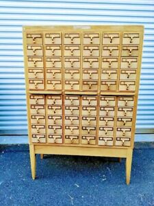 Vintage Remington Rand Mcm 60 Drawer Card Catalog Maple 2 Avail Exc Condition