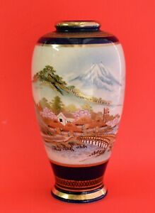 Antique Hand Painted Japanese Satsuma Vase Marked Shimazu Family Taisho Period
