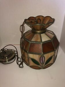 Vintage 70s Stain Glass Hanging Lamp Shade