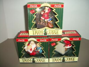 Lot of 3 Coca Cola Old Style Trim A Tree Collection Christmas Ornaments