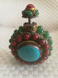 Old Nepalese Handmade Snuff Bottle Mosaic Of Turquoise Cloisonne Snuff Bottle