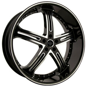 4pcs 24 Versante Wheels Ve226 Black Machined Rims Fs