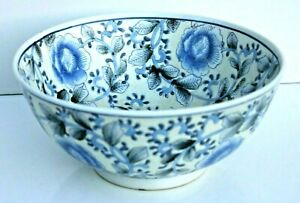 Large 19th C Chinese Hand Painted Sculptured Blue White Punch Bowl