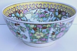 Large Chinese Hand Painted Famille Rose Gold Fish Punch Bowl