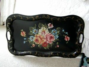 Tole Toleware Tin Tray With Handles Black Roses Flowers Chippendale Vintage 24