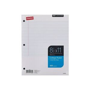 Staples College Ruled Filler Paper 8 1 2 X 11 400 Sheets 12 Pack 2072486