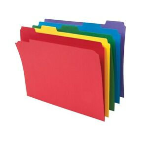 Staples Colored File Folders W Reinforced Tabs Letter 5 Tab 100 box 464017