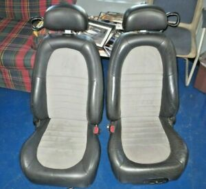 2001 Ford Mustang Cobra Leather Suede Front Bucket Seats Charcoal Mid Black