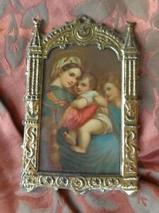 Victorian Embos Tin Cathedral Crest Madonna Christ Chrom Print Religious Frame