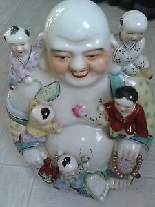 Large Vintage Antique Chinese Porcelain Happy Laughing Buddha With 5 Kids Read D