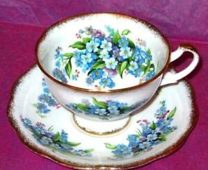 Vintage Royal Standard Forget Me Not Bone China Footed Tea Cup And Saucer