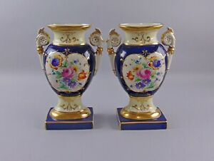 Pair Of Antique Hand Painted Porcelain Vases Old Paris Or Danish G