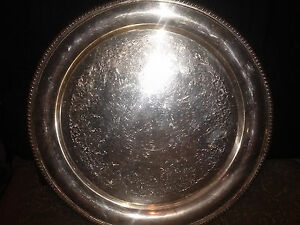 Vintage Wilcox International Silver Co Ashley 7071 Round Tray 13 1 4 In