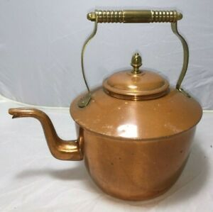 Vintage Traditional Large Copper Kettle Brass Handle Vgc