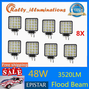 8x 48w Square Led Work Light Bar Driving Fog Suv 4wd Boat Offroad Ute Flood spot