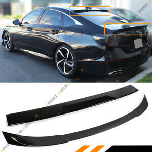 For 2018 2020 Accord Akasaka Painted Black Trunk Lid Rear Window Roof Spoiler