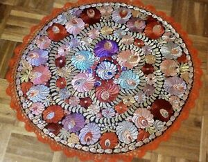 Antique Silk Hand Embroidered Matyo Tablecloth Dating To Approx 1920 S