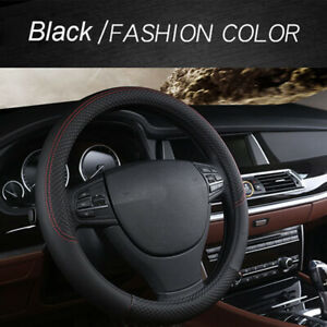 Auto Car Steering Wheel Cover Black Stitching Pu Leather Universal 38cm 15inch