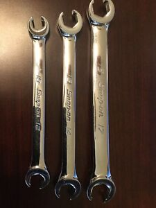 Snap on 6 point 3 pc Metric Double End Flare Nut Wrenches 10mm 17mm Usa Rxfms101