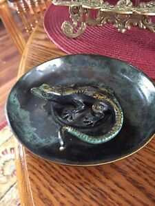 Art Deco Tinos Anderson H F Bronce Bronze Dish With Salamander Or Lizard