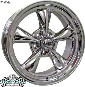 17x7 17x8 New Polished Rev Classic 100 Wheels Plymouth Duster W disc Brakes 1975