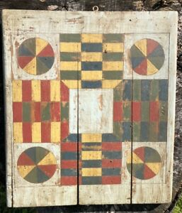Great Early 20th Century Painted Wood Parcheesi Folk Art Game Board
