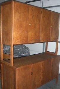 Danish Modern Credenza Eames Era Walnut Two Stacking Cabinets