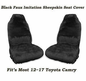 Black Faux Sheepskin Seat Cover Pair Soft Plush Wool Fit s 12 17 Toyota Camry