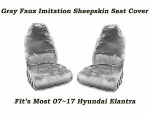 Gray Faux Sheepskin Seat Cover Pair Soft Plush Wool fit s 07 17 Hyundai Elantra